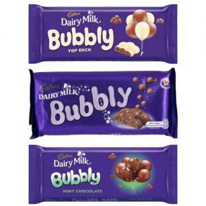 Cadbury Bubbly Slab Dairy Milk 150g top deck mint