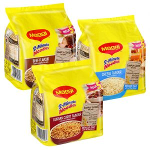 Maggi 2 Min Instant Noodles Chicken 5 x 73g cheese durban curry beef boerewors