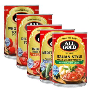 All Gold Tomatoes Assorted 410g WHOLE PEELED MEXICAN STYLE DICED ITALIAN STYLE SLICED INDIAN STYLE DICED