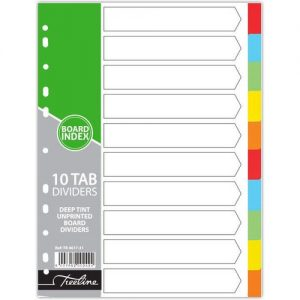 A4 10 Tab Board Bright Index dividers